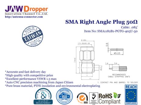 SMA Plug Male Right Angle Coaxial Connector 50 ohms SMA1182B1 PGTG 405U 50