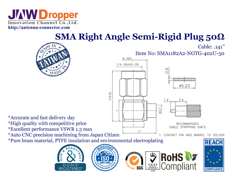 "SMA Plug Male Right Angle Semi Rigid Coaxial Connector 50 ohms for .141"" Cable"