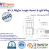 "SMA Plug Male Right Angle Semi Rigid Coaxial Connector 50 ohms for .141"" Cable"