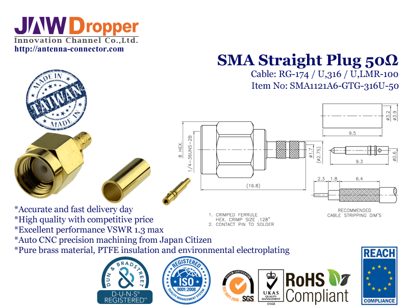 SMA Plug Male Straight Coaxial Connector 50 ohms