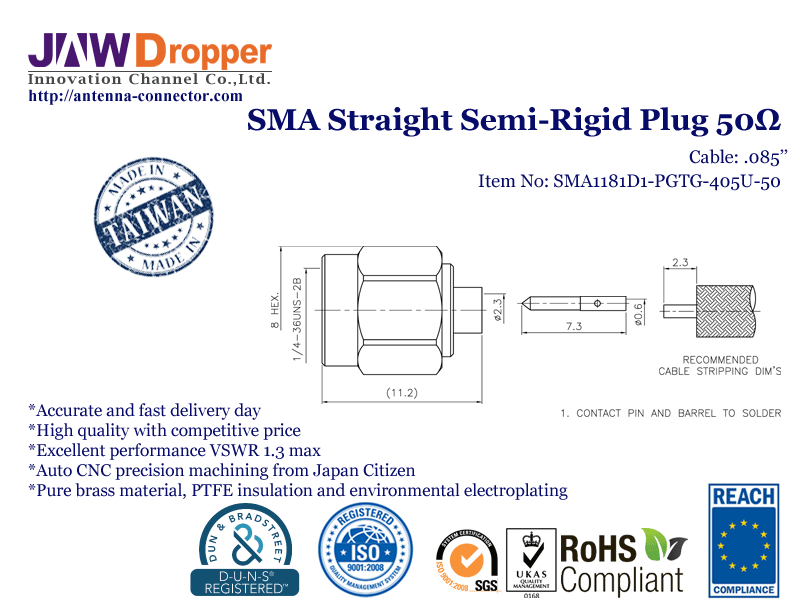 "SMA Plug Male Straight Semi Rigid Coaxial Connector 50 ohms for .085"" Cable"