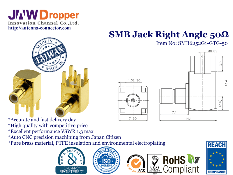 SMB Jack Female Right Angle Coaxial Connector 50 ohms