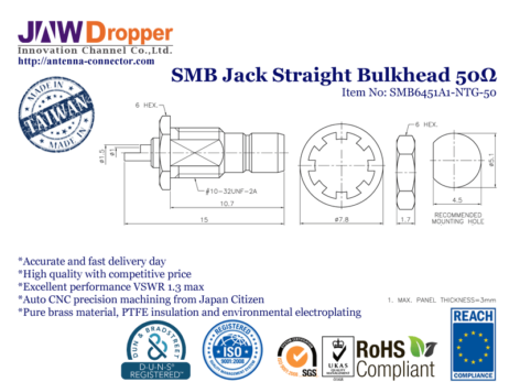 SMB Jack Female Straight Bulkhead Coaxial Connector 50 ohms