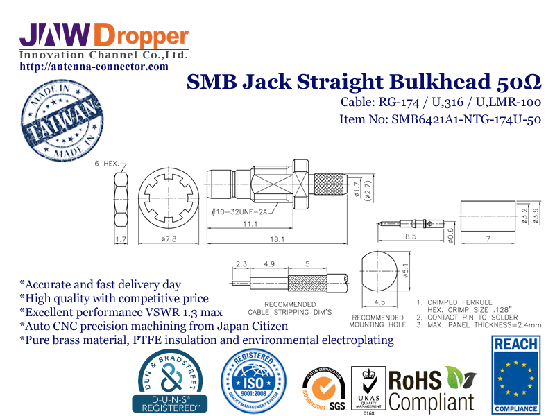 SMB Jack Female Straight Bulkhead Coaxial Connector 50 ohms for RG-174 / U,316 / U,LMR-100 Cable