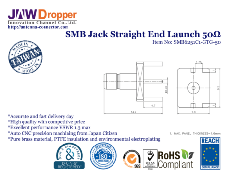 SMB Jack Female Straight End Launch Coaxial Connector 50 ohms Drawing
