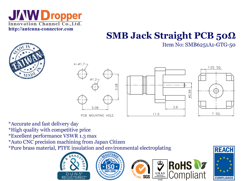 SMB Jack Female Straight PCB Coaxial Connector 50 ohms