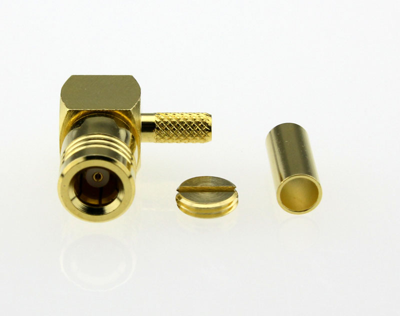 SMB Plug Male Right Angle Crimp Coaxial Connector 50 ohms for RG-174 U316 LMR100 Cable Front
