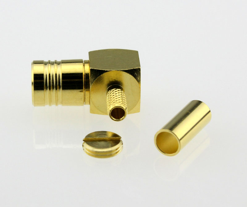 SMB Plug Male Right Angle Crimp Coaxial Connector 50 ohms for RG-174 U316 LMR100 Cable Side