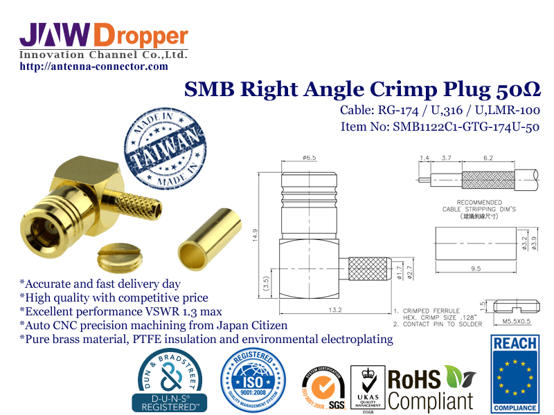 SMB Plug Male Right Angle Crimp Coaxial Connector 50 ohms for RG-174 / U,316 / U,LMR-100 Cable